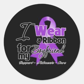 Boyfriend - Pancreatic Cancer Ribbon Round Sticker