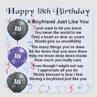Boyfriend Poem - 18th Birthday Square Sticker