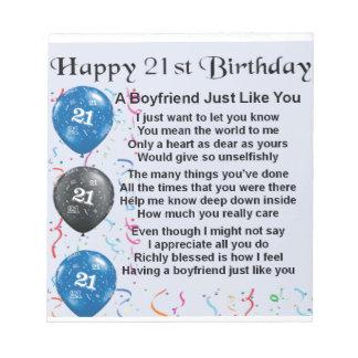 Boyfriend Poem - 21st Birthday Notepad