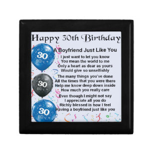 Boyfriend Poem 30th Birthday Gift Box