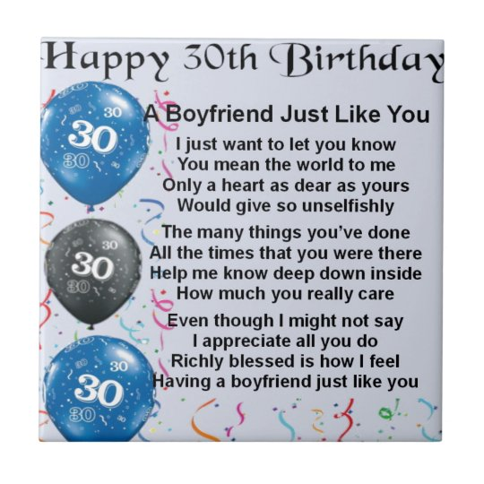 Boyfriend poem 30th Birthday Small Square Tile