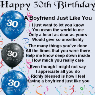 Boyfriend Poem 30th Birthday Tile