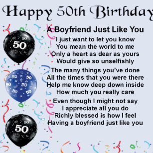 Boyfriend Poem 50th Birthday Gift Box