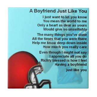 Boyfriend Poem - American Football Design Tile