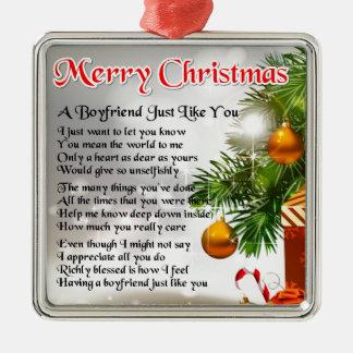 Boyfriend Poem - Christmas Design Christmas Ornament