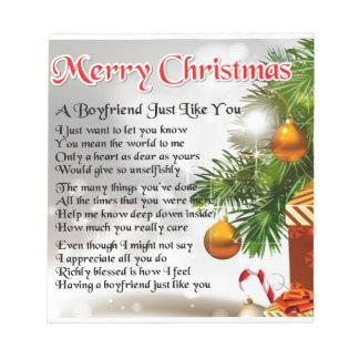 Boyfriend Poem - Christmas Design Notepad