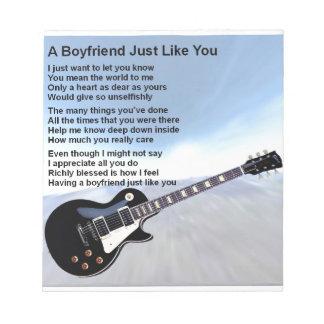Boyfriend Poem - Guitar Design Notepad