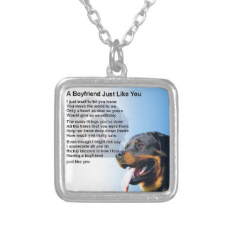 Boyfriend Poem - Rottweiler Design Silver Plated Necklace