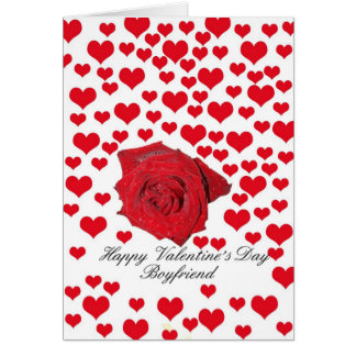 Boyfriend Rose and hearts Valentine´s Day Card