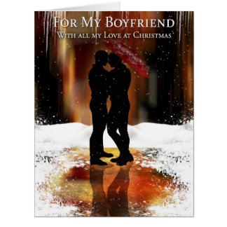 Boyfriend Stylish Holiday Card With Gay Couple