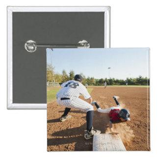 Boys (10-11) playing baseball 15 cm square badge