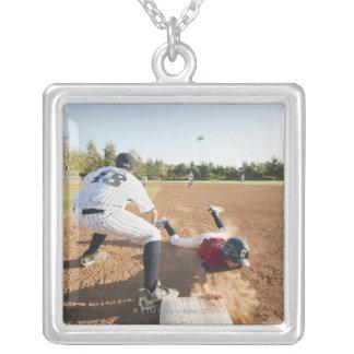 Boys (10-11) playing baseball personalized necklace