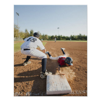 Boys (10-11) playing baseball poster