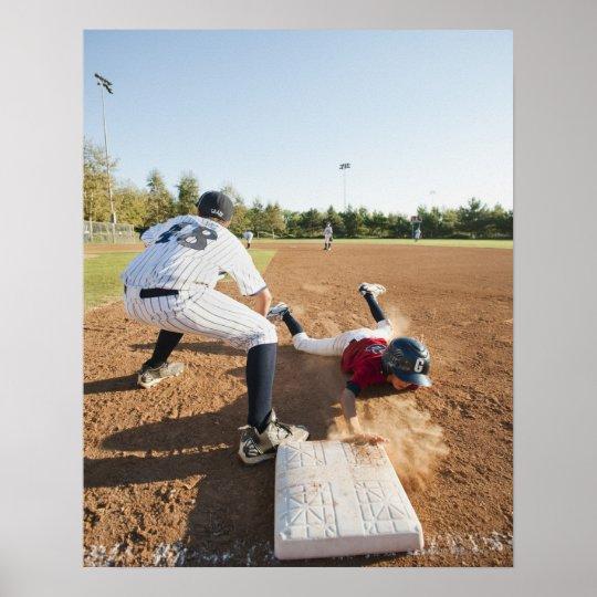 Boys (10-11) playing baseball poster