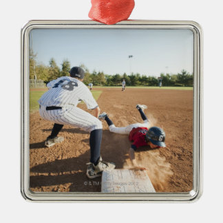 Boys (10-11) playing baseball Silver-Colored square decoration