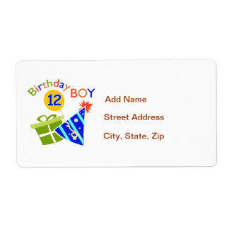 Boys 12th Birthday Shipping Label
