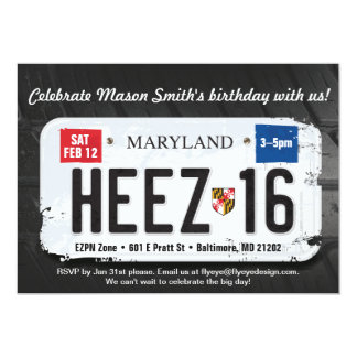 Boy's 16th Birthday Maryland License Invitation