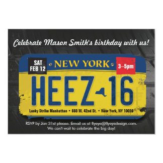 Boy's 16th Birthday New York License Invitation