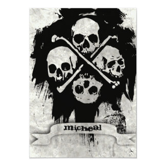 "Boys 16th Birthday Party Gothic Skulls Invitation 5"" X 7"" Invitation Card"