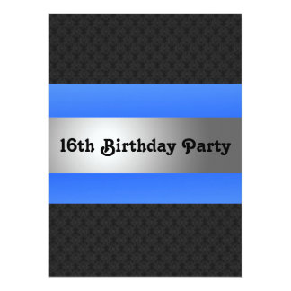 "Boy's 16th Birthday Party Invite 5.5"" X 7.5"" Invitation Card"