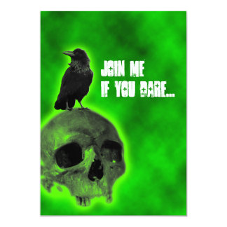 Boys 16th Birthday Raven and Skull Goth Invitation