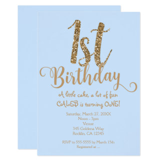 Boys 1ST BIRTHDAY 1 Blue & Gold Party Invitations