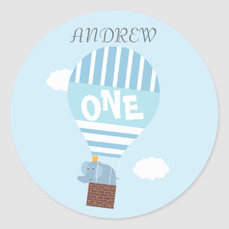 Boys 1st Birthday Hot Air Balloon Elephant Sticker