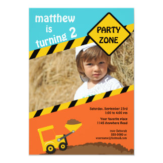 Boys 2nd Birthday Construction Photo Invitation