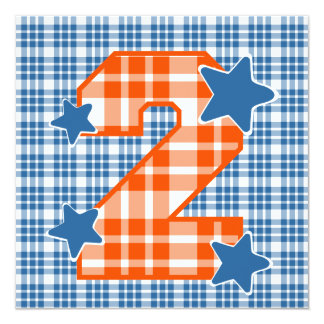 Boy's 2nd Birthday Custom Name Modern Plaid V06C1 13 Cm X 13 Cm Square Invitation Card