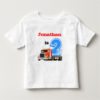 Boys 2nd Birthday Red Truck Toddler T-Shirt