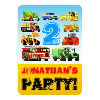 Boy's 2nd Birthday Truck Vehicles Party 13 Cm X 18 Cm Invitation Card