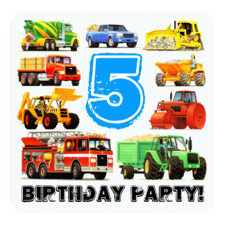 Boys 5th Birthday Construction Truck Party 13 Cm X 13 Cm Square Invitation Card
