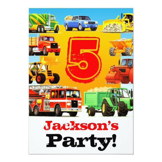 Boys 5th Birthday Construction Trucks Party Card
