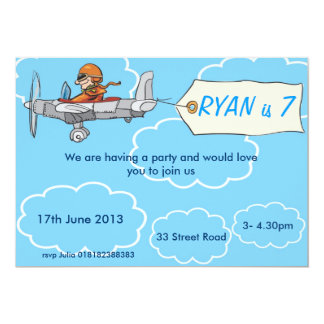 Boys Airplane Birthday Invitation