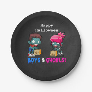 Boys and Ghouls Zombie Halloween Party Paper Plate