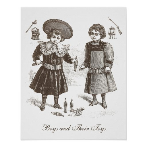 Boys and Their Toys - Vintage French Clothing Print