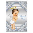 Boys Angel Baptism Thank You Card