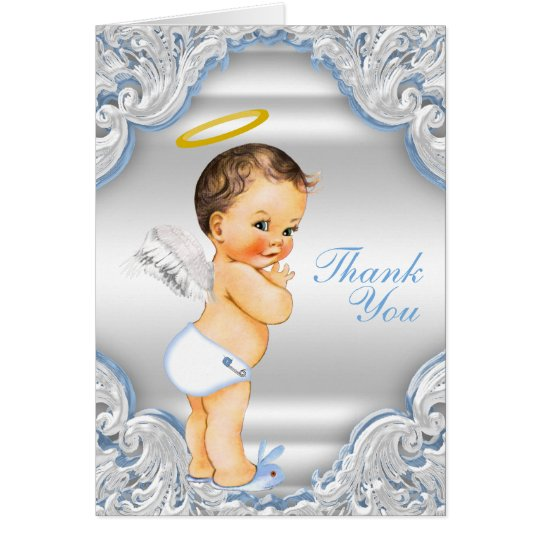 Boys Angel Baptism Thank You Card