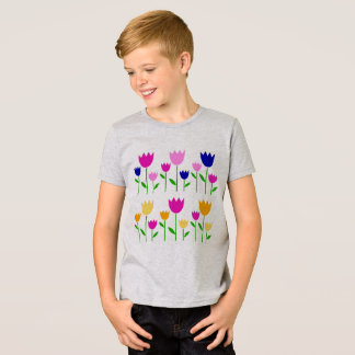 Boys artistic tshirt Grey with Tulips