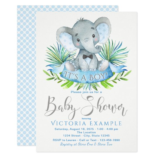 Boys Baby Elephant Baby Shower Invitations Zazzle Co Uk