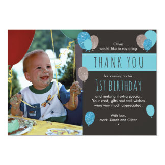 Boys balloon birthday thank you card