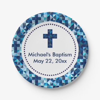 Boy's Baptism Christening First Communion Paper Plate