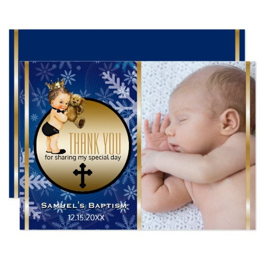 Boys Baptism Thank You Custom Photo Blue Snowflake