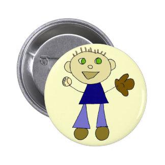 Boys Baseball Pinback Button