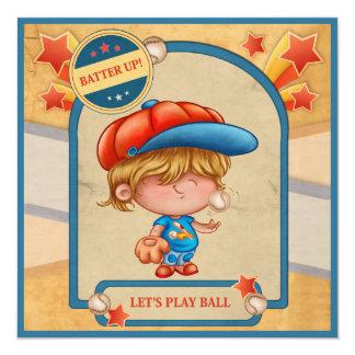 Boys Baseball Birthday 13 Cm X 13 Cm Square Invitation Card