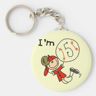 Boy's Baseball I'm 5 Tshirts and Gifts Basic Round Button Key Ring