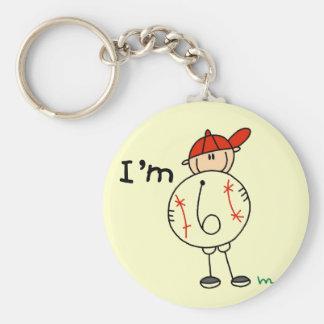Boy's Baseball I'm 6 Tshirts and Gifts Basic Round Button Key Ring
