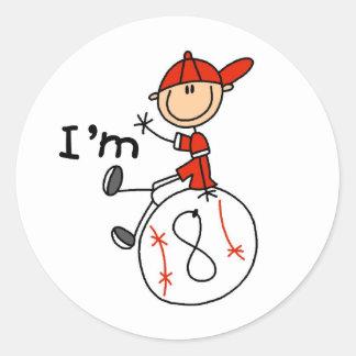 Boys Baseball I'm 8 Classic Round Sticker