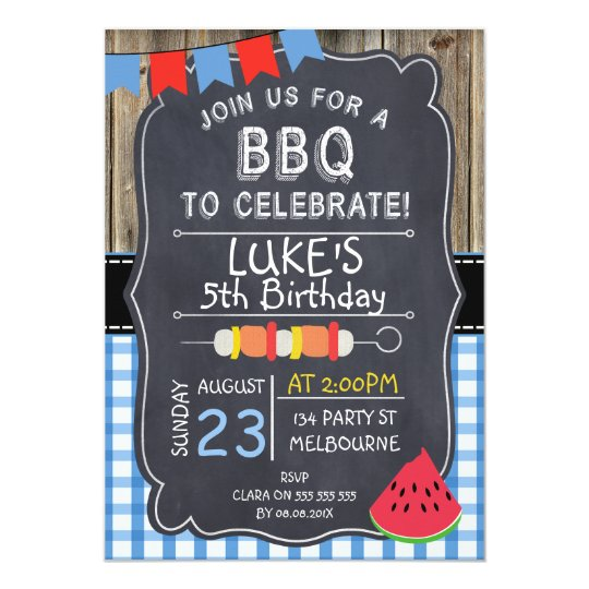 Boys BBQ Birthday Party Invitation