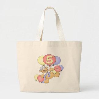 Boys Bear 5th Birthday Gifts Jumbo Tote Bag